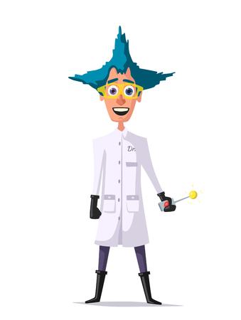 madness: Crazy scientist. Funny character. Cartoon vector illustration. Mad professor Illustration