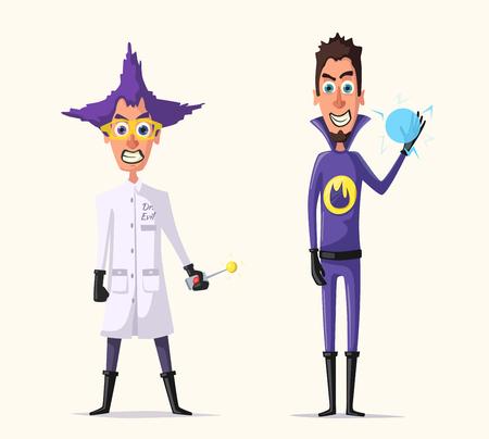 madness: Crazy villains. Cartoon vector illustration.