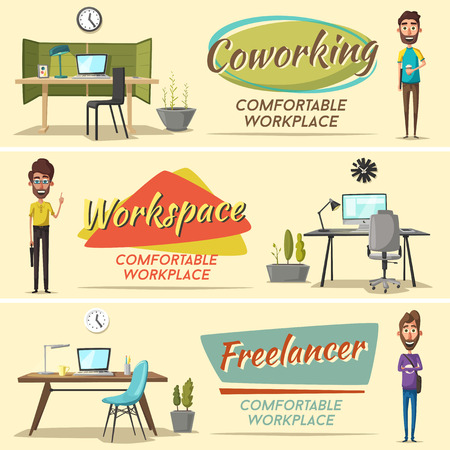 workday: Modern workplaces. Creative characters. Office work. Cartoon vector illustration