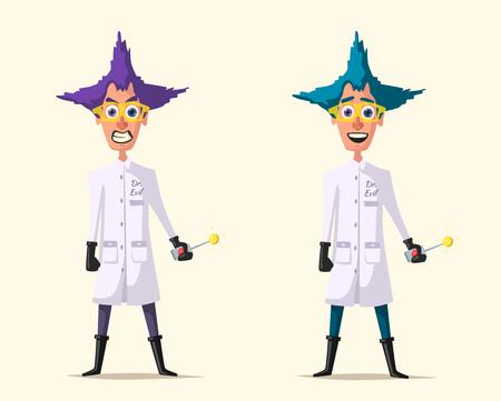 Scienziato pazzo. Personaggio divertente. Illustrazione vettoriale del fumetto. Vettoriali