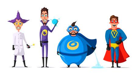 Set of superhero. Cartoon vector illustration Illustration
