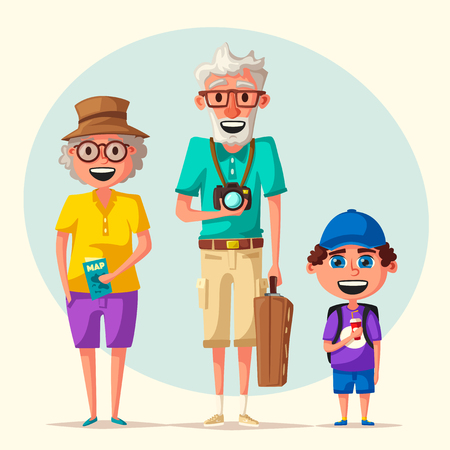 Old couple and grandchild in travel. Journey of grandparents. Cartoon vector illustration
