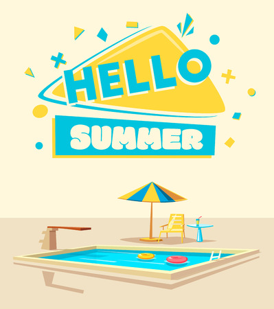 Hello summer. Swimming pool. Cartoon Vector illustration. Beautiful banner. Geometric vintage style