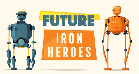 bionic: Set of robots. Technology, future. Cartoon vector illustration