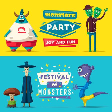 Funny monsters. Cartoon vector illustration.