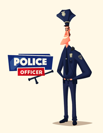 baton: Policeman character. Cartoon vector illustration. Funny cop. Justice and safety