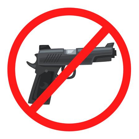 forbid: No weapon sign. Cartoon wector illustration. Stop violence