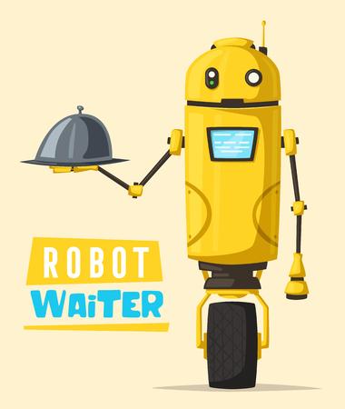 Funny robot waiter, cute character. Vector cartoon illustration. Future is now. Restaurant worker Illustration