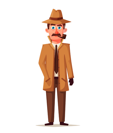 Funny detective character. Cartoon vector illustration. Cheerful inspector in raincoat. Man in hat. Illustration