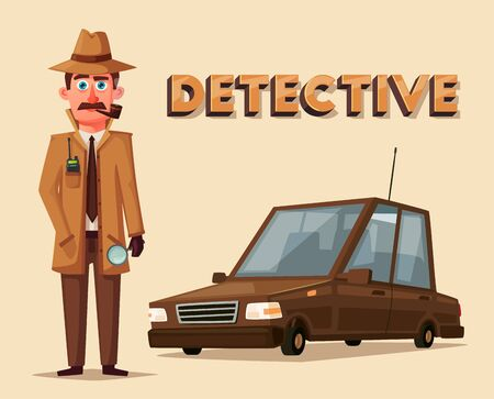 investigating: Funny detective character. Cartoon vector illustration