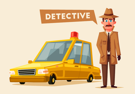inspector: Funny detective character. Cartoon vector illustration. Cheerful inspector in raincoat. Man in hat. Illustration