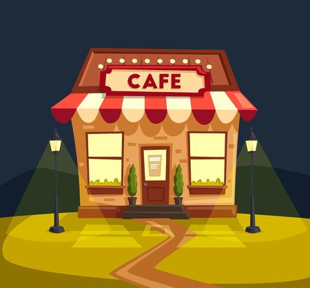 Restaurant or cafe. Exterior building. Vector cartoon illustration Illustration