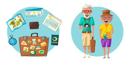 Stara para w podróży. Podróż dziadków. Ilustracja wektorowa kreskówka. Projekt postaci na podróżnych w podeszłym wieku. Rodzina mająca wakacje w podróży. Starsi ludzie.