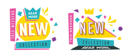 New collection banners. Bright and retro style. Cartoon vector illustration. Poster and flyer design. Geometric elements Illustration