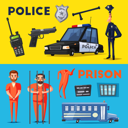 Policeman character. Prison. Criminal in orange uniform. Cartoon vector illustration. Funny cop. Police car. Public safety transport Illustration