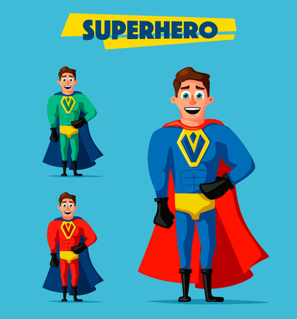Superhero in uniform. Cartoon vector illustration. Good man. Hero character. Muscular body. Person in cloak. Justice and help. For banners and posters Illustration
