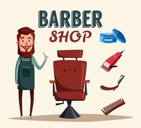 trim: Cute barber character cartoon vector illustration