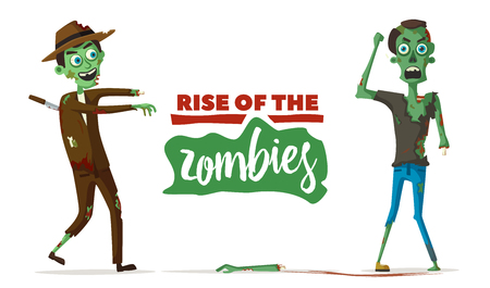 stabbed: Zombie character cartoon vector illustration for  Halloween party