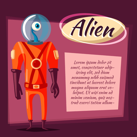 spacesuit: Friendly alien. Cartoon vector illustration. Ufo. Retro poster. Space theme. Funny monster mutant character