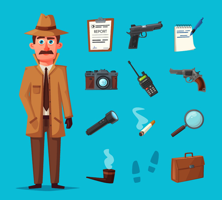 Funny detective character. Cartoon vector illustration. Cheerful inspector in raincoat. Man in hat. Stock Photo