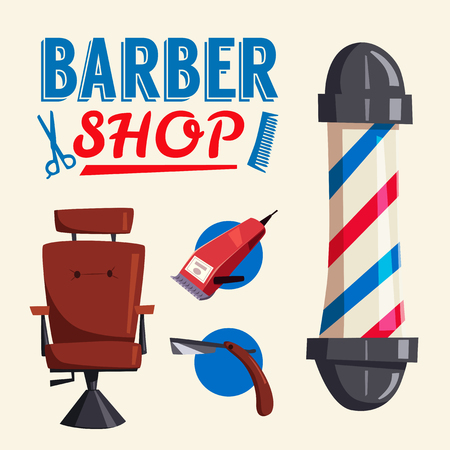 Barber shop. Cartoon vector illustration. Lounge chair. Scissors and razor. Vintage hairstyle. Set of tools 向量圖像
