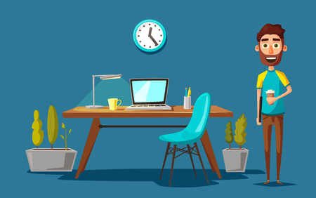 Modern workplace. Creative character. Office work. Cartoon vector illustration
