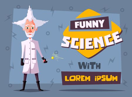 Crazy old scientist. Funny character. Cartoon vector illustration