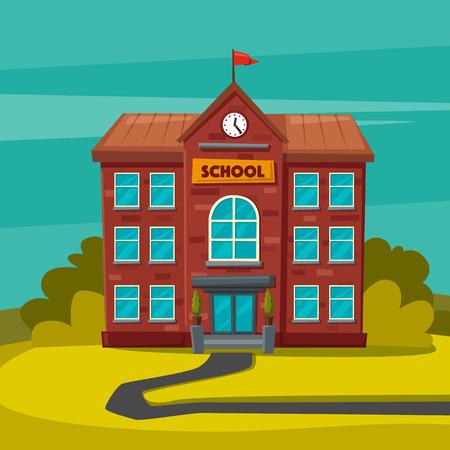 front or back yard: Back to school. Children on the yard. Cartoon vector illustration Illustration