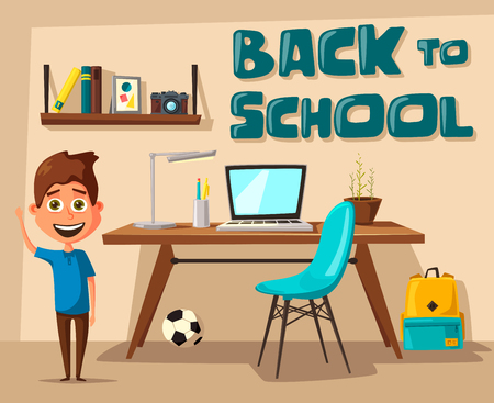 homeschooling: Back to school banner with boy in the background Illustration