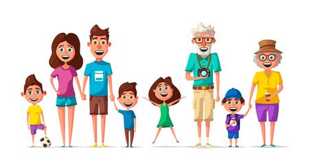 Happy family. Cartoon vector illustration