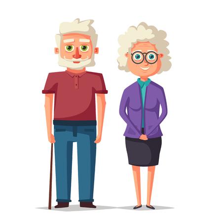 Happy grandparents. Vector cartoon illustration. Grandparents day. Grandpa and grandma standing full length smiling.
