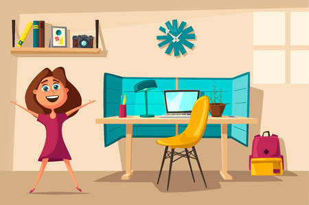 homeschooling: Schoolgirl learns lessons at home. Cartoon vector illustration. Comfortable place. Creative interior. Room of child
