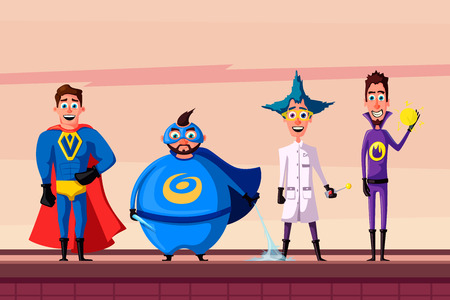 Set of superhero. Cartoon vector illustratration.