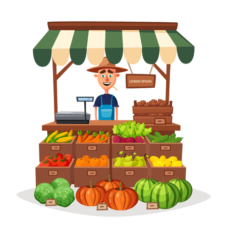 Farm shop. Local stall market. Selling vegetables. Cartoon vector illustration. Isolated on white background. Fresh food Çizim