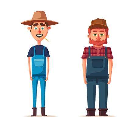 Funny farmers. Cartoon vector illustration.