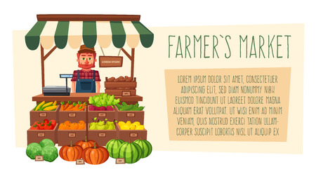 Farm shop. Local stall market. Selling vegetables. Cartoon vector illustration. Illustration