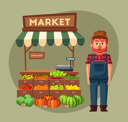 plant stand: Farm shop. Local stall market. Selling vegetables. Cartoon vector illustration. Illustration