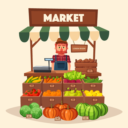 Farm shop. Local stall market. Selling vegetables. Cartoon vector illustration. Isolated on white background. Fresh food  イラスト・ベクター素材