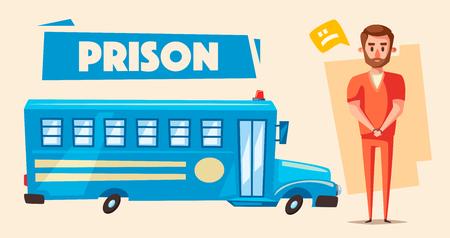 jailer: Prison with prisoner. Character design. Cartoon vector illustration