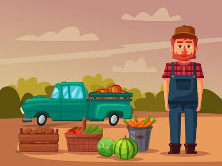 Planting and harvesting. Cartoon vector illustration. Illustration