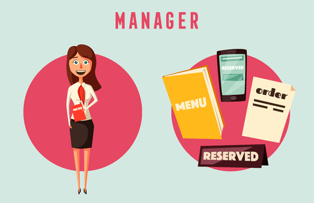 reserved: Restaurant manager. Cartoon vectror illustration. Hostess in cafe. Worker. Meet and reserved