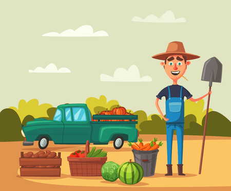 Planting and harvesting. Cartoon vector illustration. Illustration