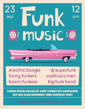Funk music poster. Cartoon vector illustration