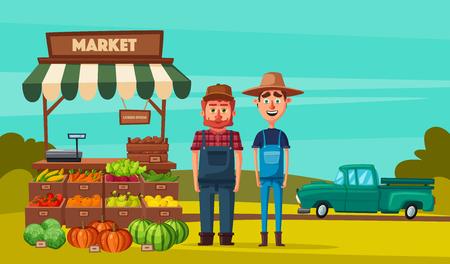 countryman: Farm shop. Local stall market. Selling vegetables. Cartoon vector illustration. Illustration