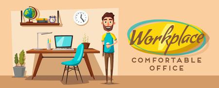 modern office: Modern workplace. Creative character. Office work. Cartoon vector illustration