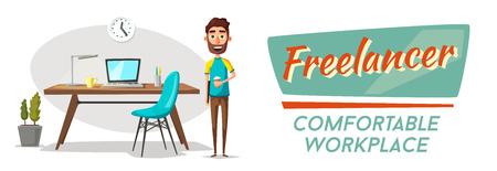 Moderno posto di lavoro. Carattere creativo. Lavoro d'ufficio. Illustrazione vettoriale del fumetto. spazio di lavoro del progettista. Mobili interni. Per il web e il banner.