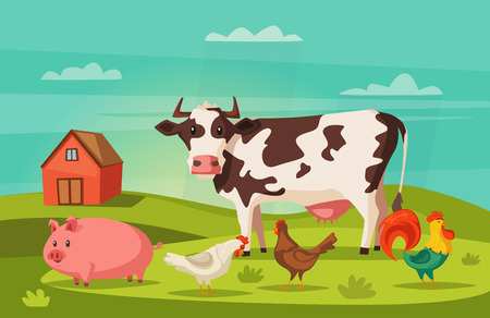 Farm animals and village house. Cartoon vector illustration Illustration