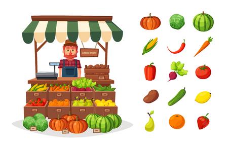 countryman: Fruit shop. Local stall market. Selling vegetables. Cartoon vector illustration.