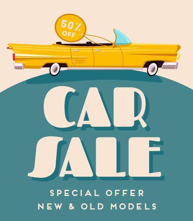 Car sale banner. Vintage auto. Cartoon vector illustration Vettoriali