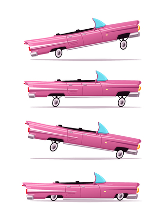 レトロな車。ビンテージのローライダー。漫画のベクトル図です。  イラスト・ベクター素材